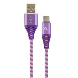 Punottu USB-C kaapeli, 2.0 m, lila, Cablexpert