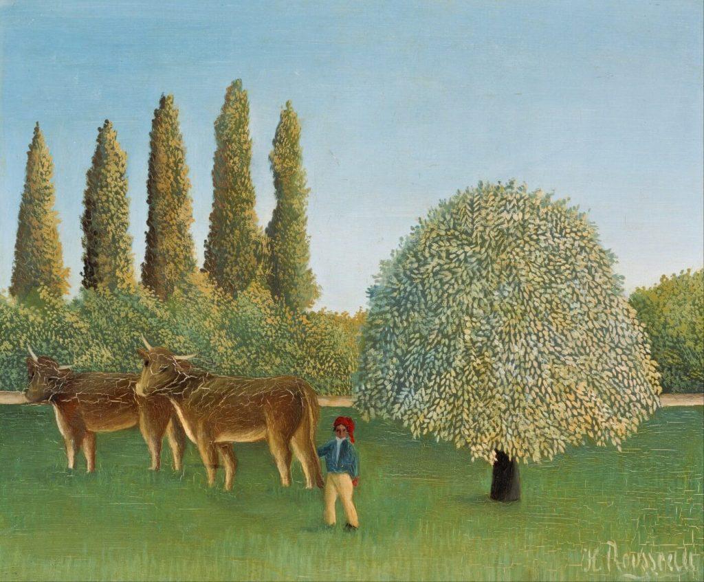 Slika dve krave i stoga sena i pastira i divnog drveta u cvatu autor je Anri Ruso Carinik