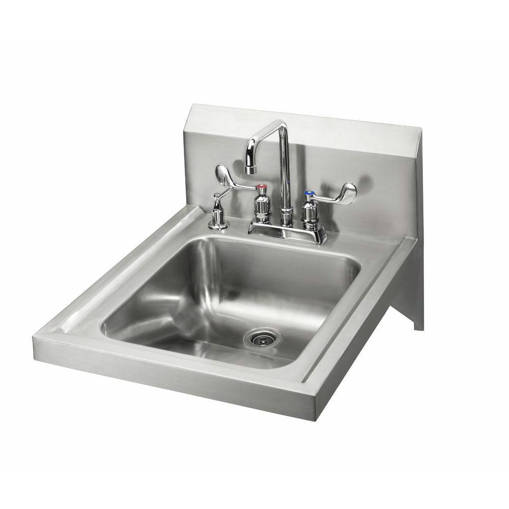 krowne ada compliant hand sink with 4 center deck mount 6 double bend gooseneck faucet