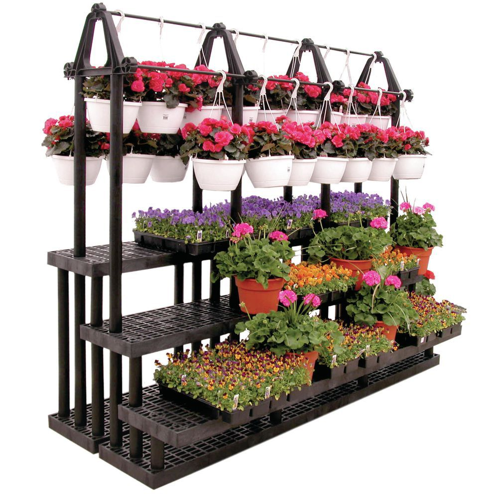 Tiered Flower Stand for Hanging Baskets and Flats on Stand For Hanging Plants  id=61857