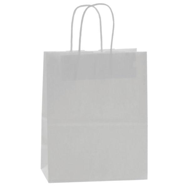 """White Kraft Paper Bags, 8""""W x 4""""D x 10""""H"""