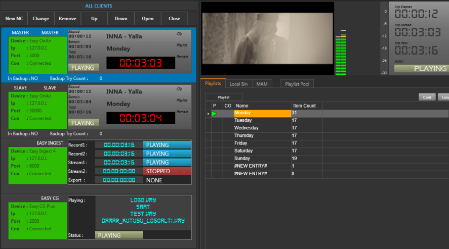 Playout operation safety is increased by using Easy OnAir in mirror mode. Mirror mode is fully redundant playout. Easy Net Control is client application to create a mirror playout automation, or M+N back up facility.