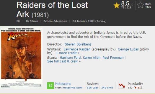 En İyi Aksiyon Filmleri İndiana Jones Kutsal Hazine Avcıları