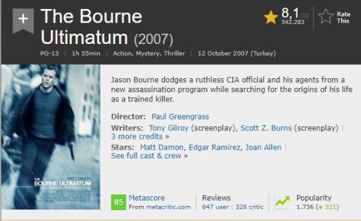 En İyi Aksiyon Filmleri Bourne Ultimatom