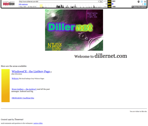 Dillernet WebPage 1997 05 01 forweb