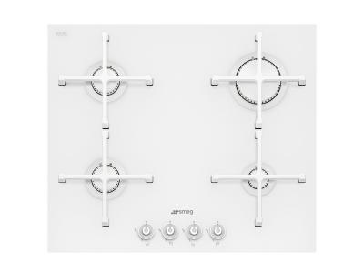 PV164CB Smeg 60cm White Ceramic Glass Gas Hob