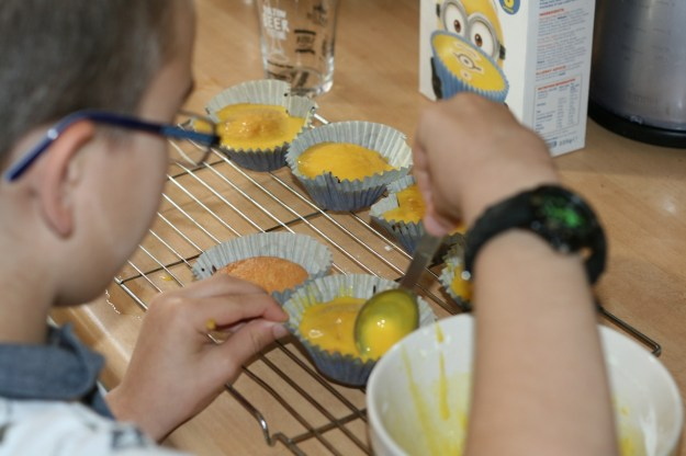 Me icing the cup cakes