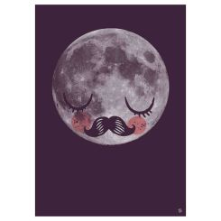 Unisex kids room Scandi moon fur neil art print