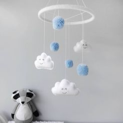 Unisex kids room Scandi notonthehighstreet pom pom cloud mobile