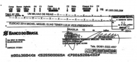Fac símile do cheque depositado pelo PMDB na conta da campanha de Temer vice-presidente
