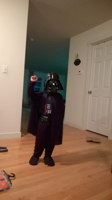 Darthvader says 'May the force be with you'.