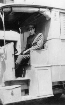 Ernest Hemingway driving the Red Cross ambulance in Italy, during the first World War I