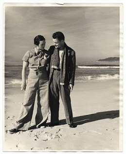 Betty and Harry Bowden on the beach at Carmel, California, ca. 1940