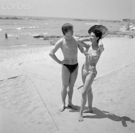 Dame Margot Fonteyn and Rudolf Nureyev at a Beach