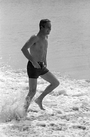 Paul Newman Enjoying the Beach
