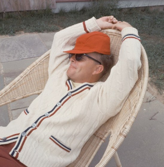 Truman Capote Relaxing on Patio, ca. 1965, Long Island