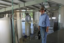 Yering Station - Pete checking out the vats (Vic)