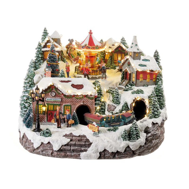 Visualizza altre idee su natale, immagini di natale, cartoline di natale. L Oca Nera Paesaggio Di Natale Con Trenino In Movimento E Musica Decorazione Con Luci Led Dim 34x34x26h Cm Dimensione Casa Store