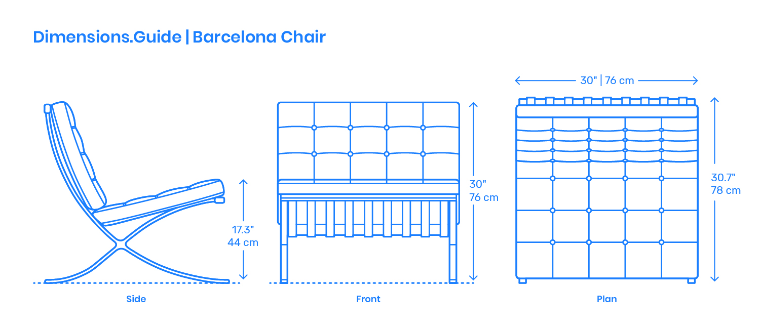 Barcelona Chair Dimensions Amp Drawings DimensionsGuide