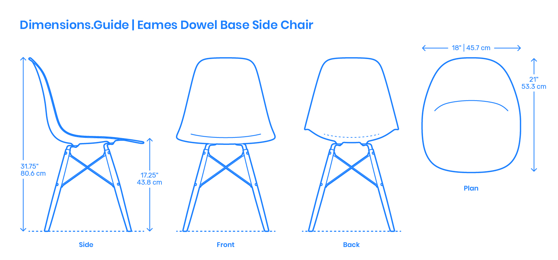 Eames Dowel Base Side Chair Dimensions Amp Drawings DimensionsGuide