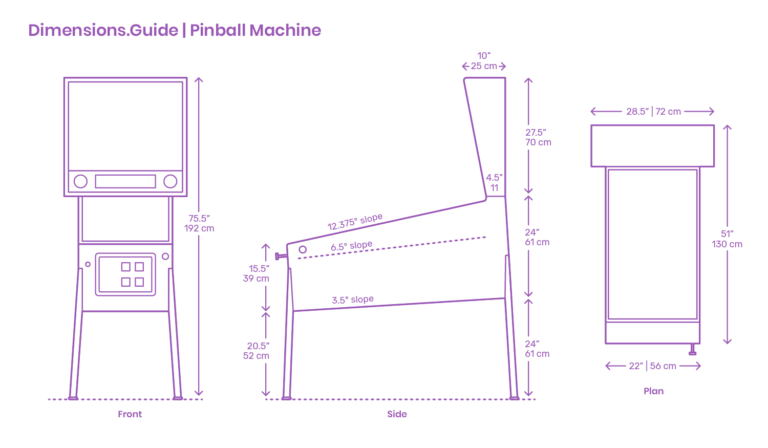 Pinball Machines Dimensions Amp Drawings DimensionsGuide