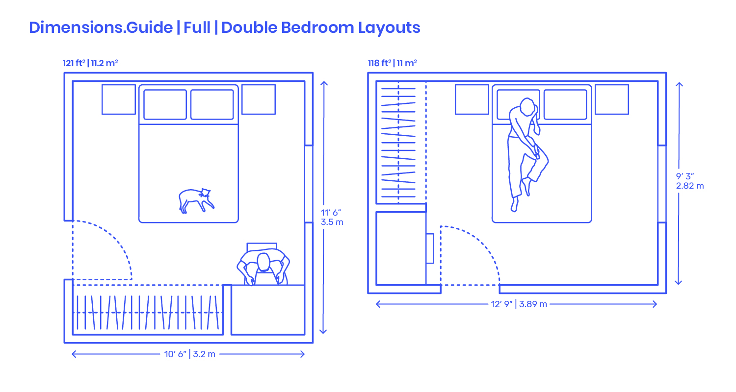 Full Double Bedroom Layouts Dimensions Drawings