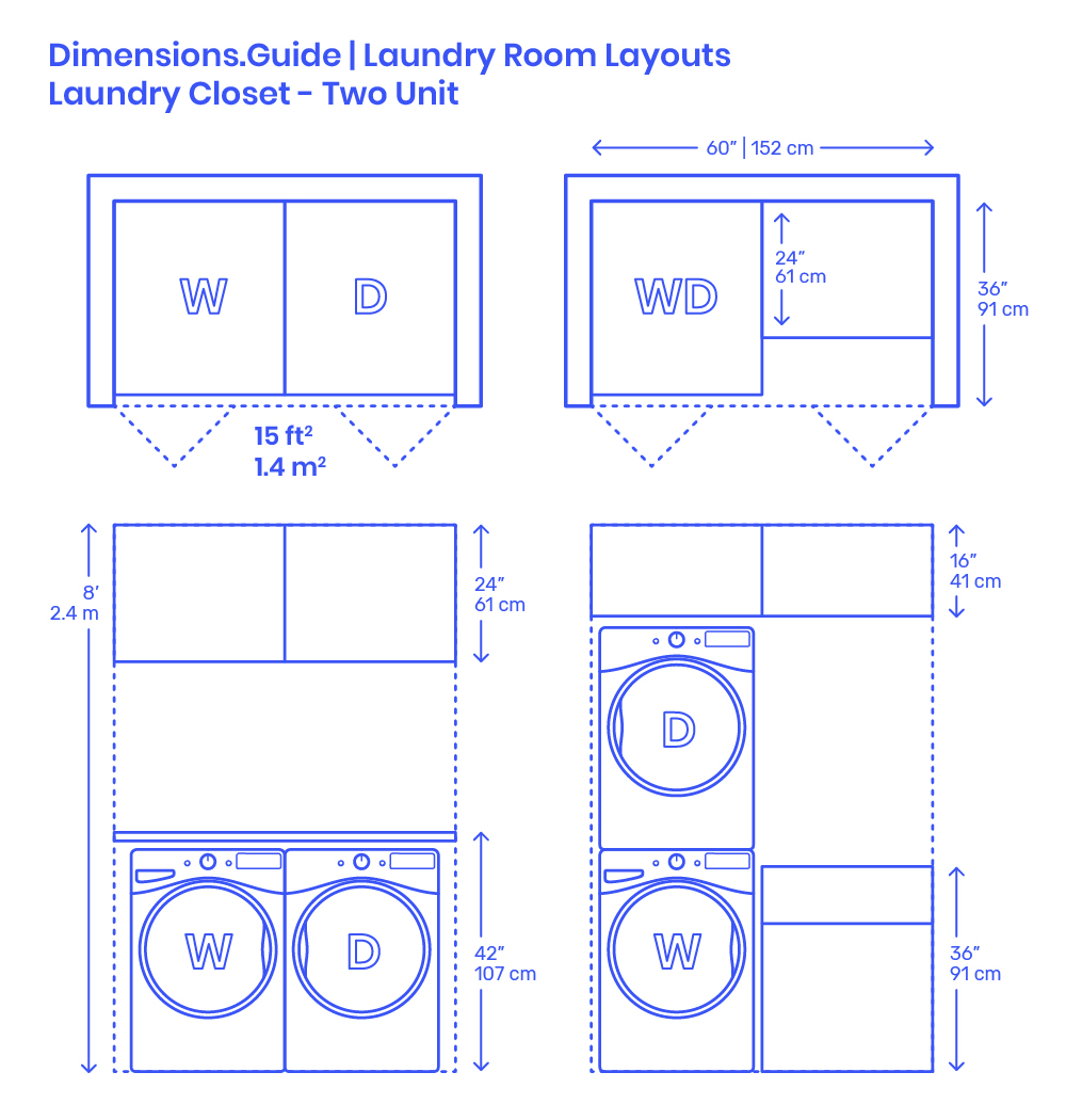 Laundry Closet Two Unit Layout Dimensions Drawings
