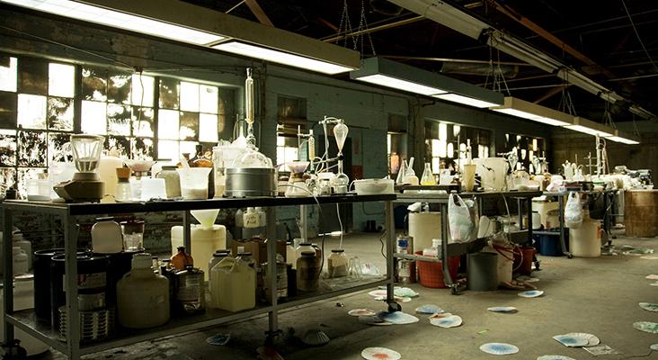 interior of an illegal meth lab