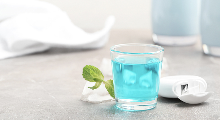mouthwash in a glass