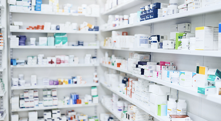 Shot of shelves stocked with various medicinal products in a pharmacy