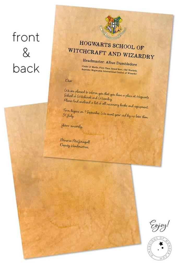 harry potter letter parchment background