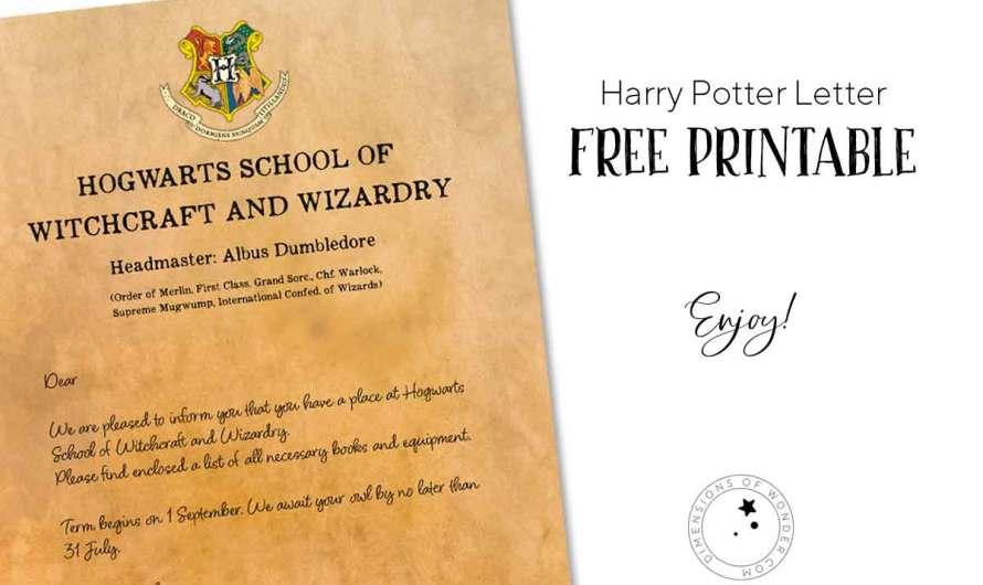Harry Potter Letter; Free Printable Hogwarts Acceptance Letter