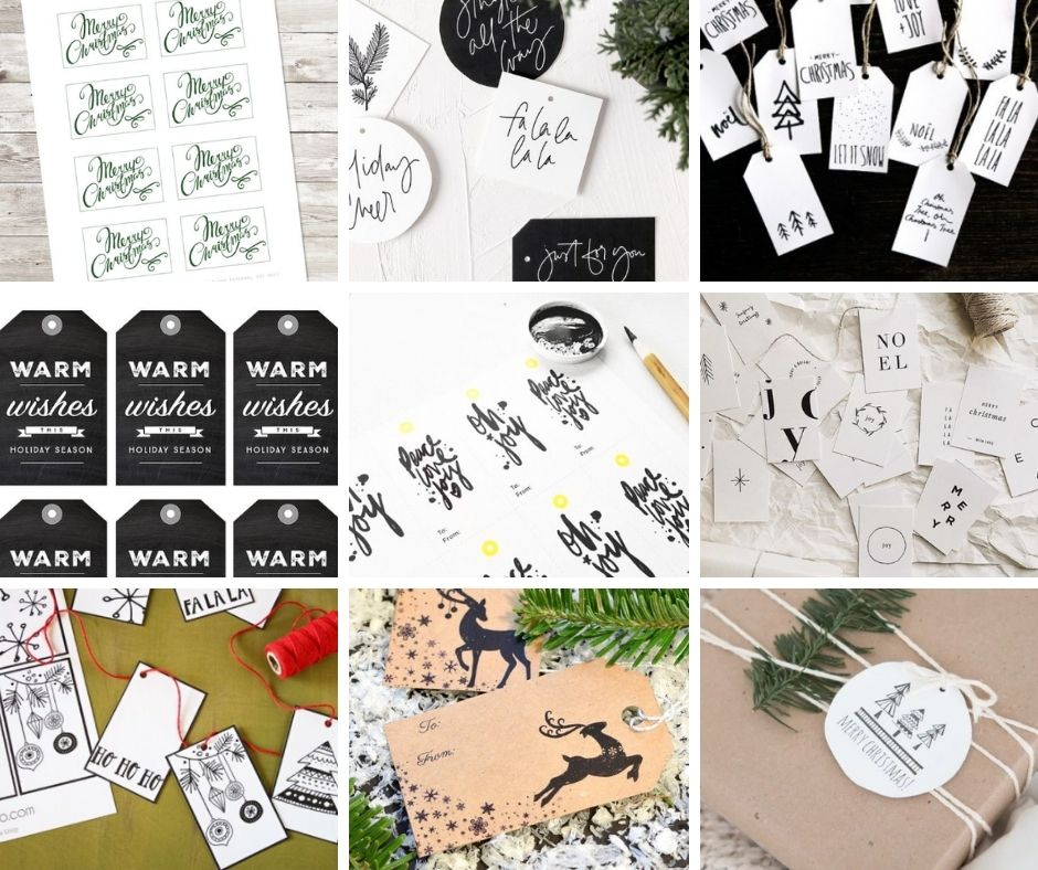 free printable christmas gift tags black and white
