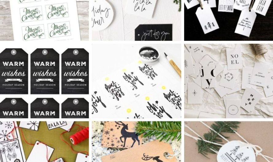 15 Lovely Printable Christmas Gift Tags in Black & White (No Color Printer Needed)