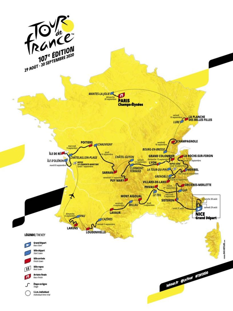 Tour de France 2020 étapes informations