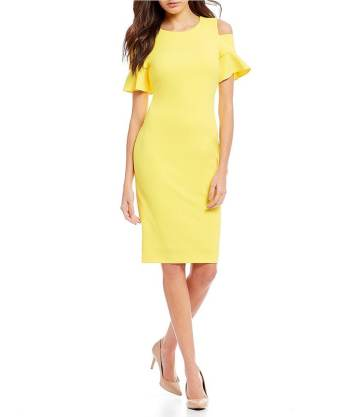 Canary:Cold Shoulder Ruffle Dress
