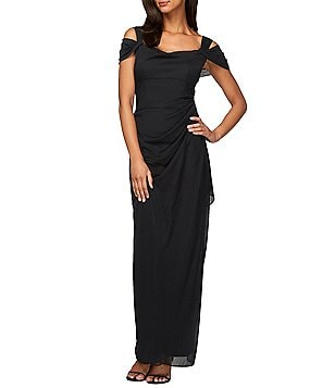 Women s Cap Sleeve Formal Dresses   Gowns   Dillards Alex Evenings Exposed Shoulder Mesh Gown