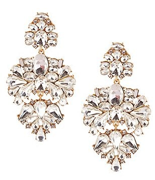 Belle Badgley Mischka Pavo Real Chandelier Statement Earrings