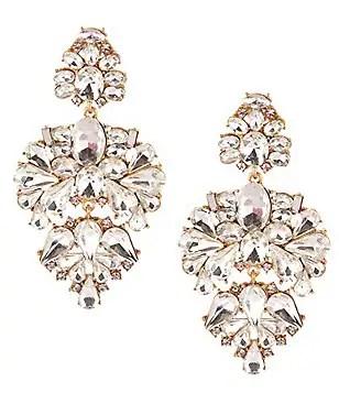 Belle Badgley Mischka Pavo Real Chandelier Statement Earrings