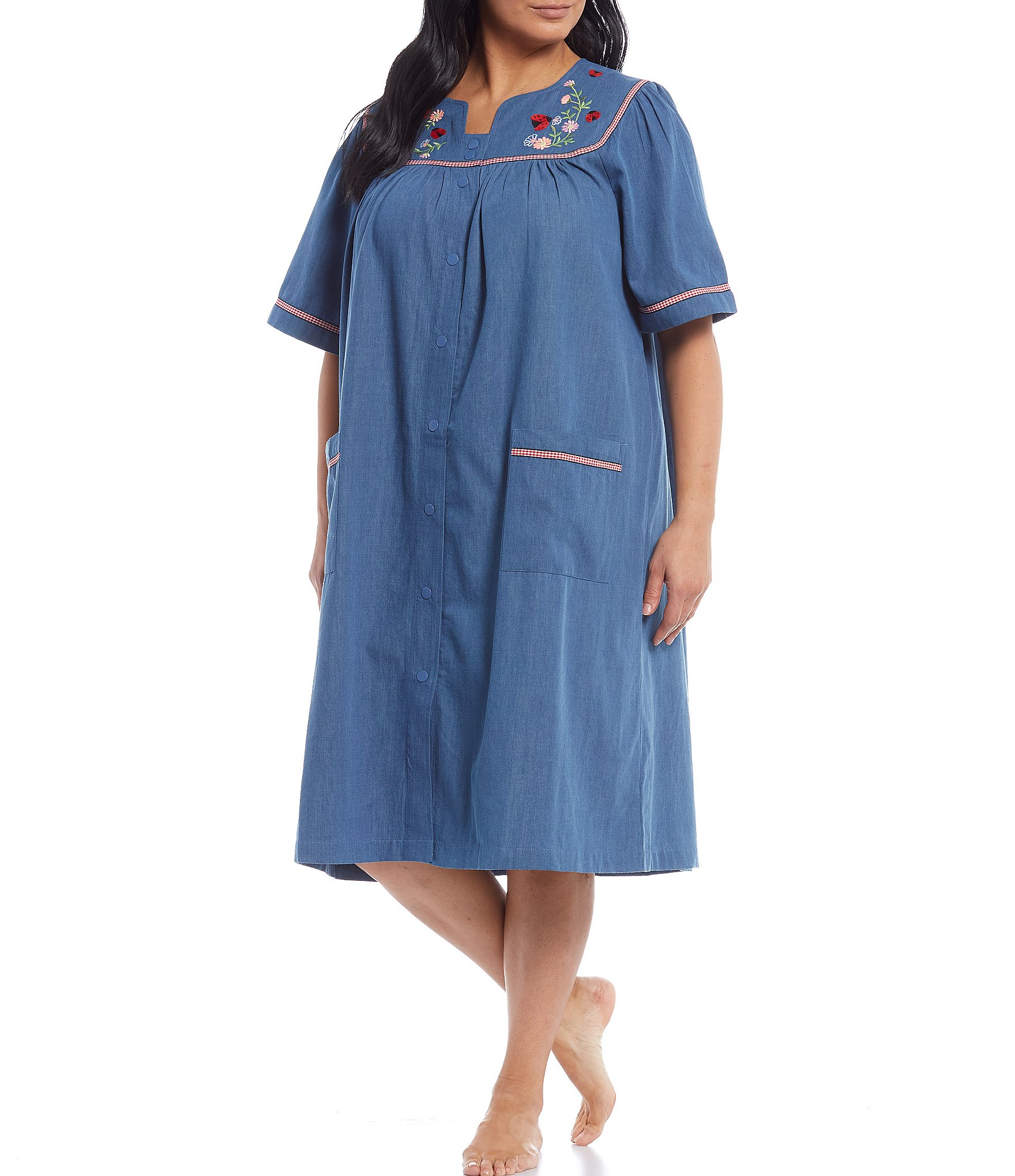 go softly plus short sleeve embroidered patio gown
