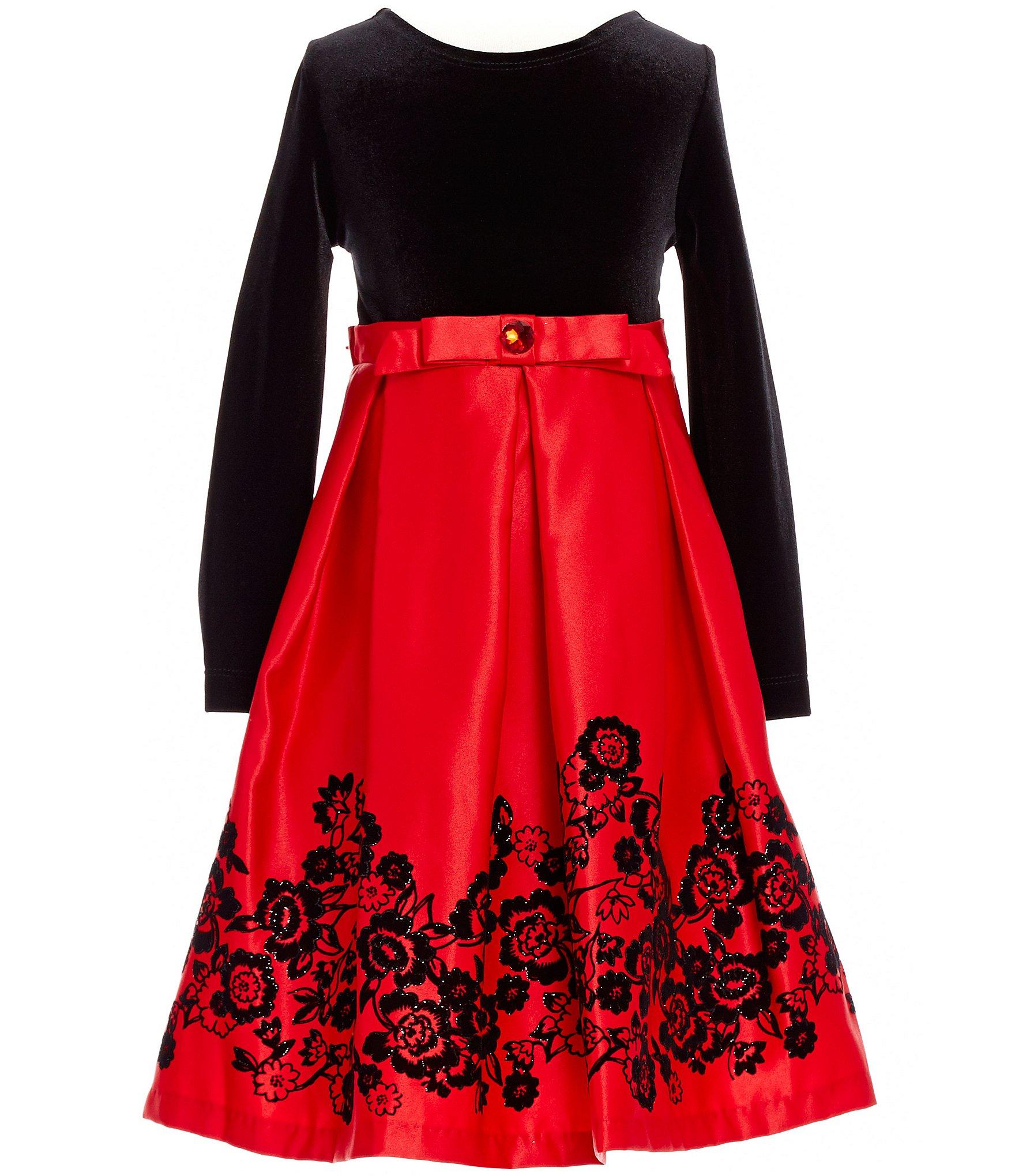 Rare Editions Little Girls 2T 6X Velvet Flocked Dress Dillards