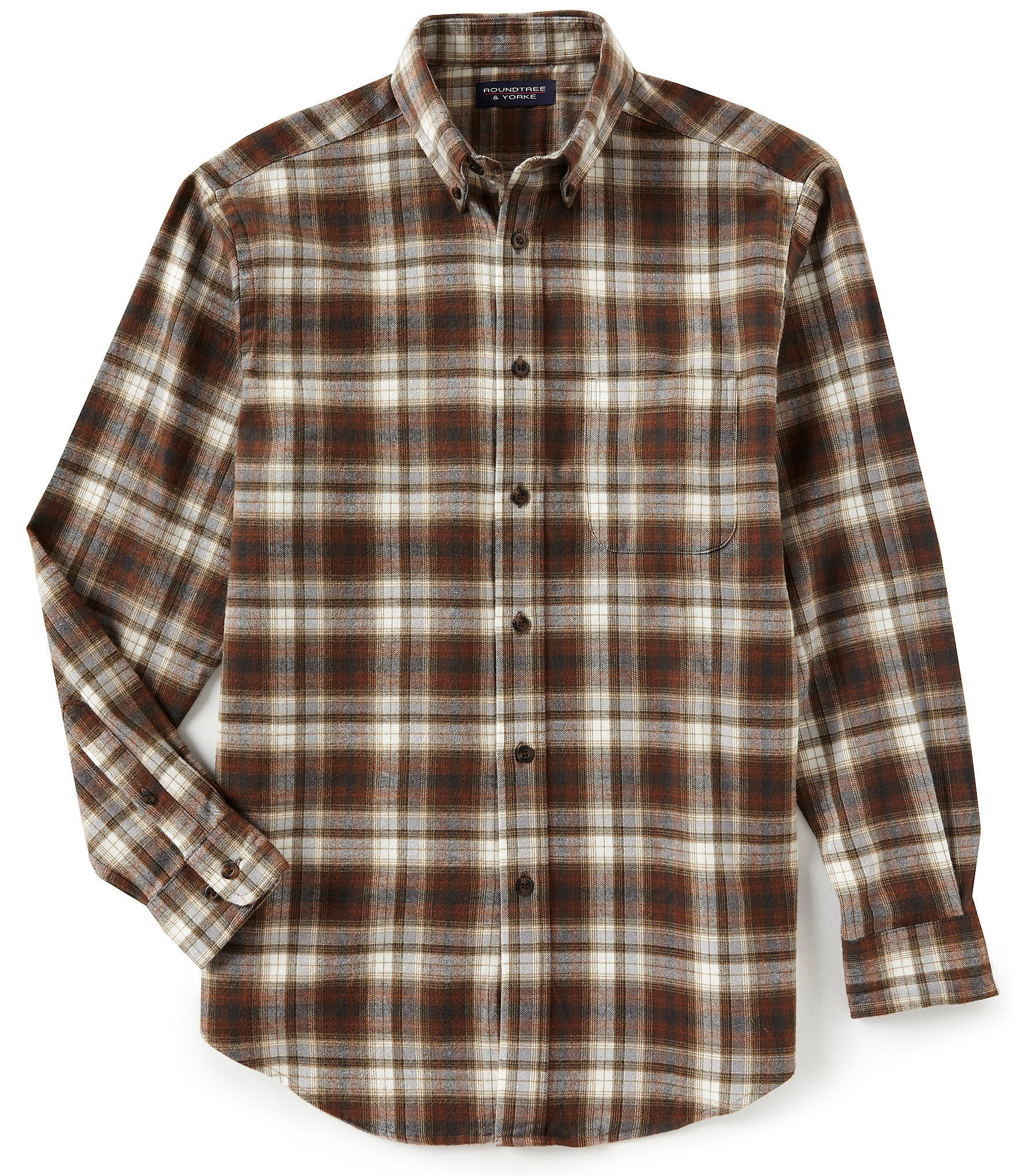 Roundtree Amp Yorke Flannel Long Sleeve Large Plaid