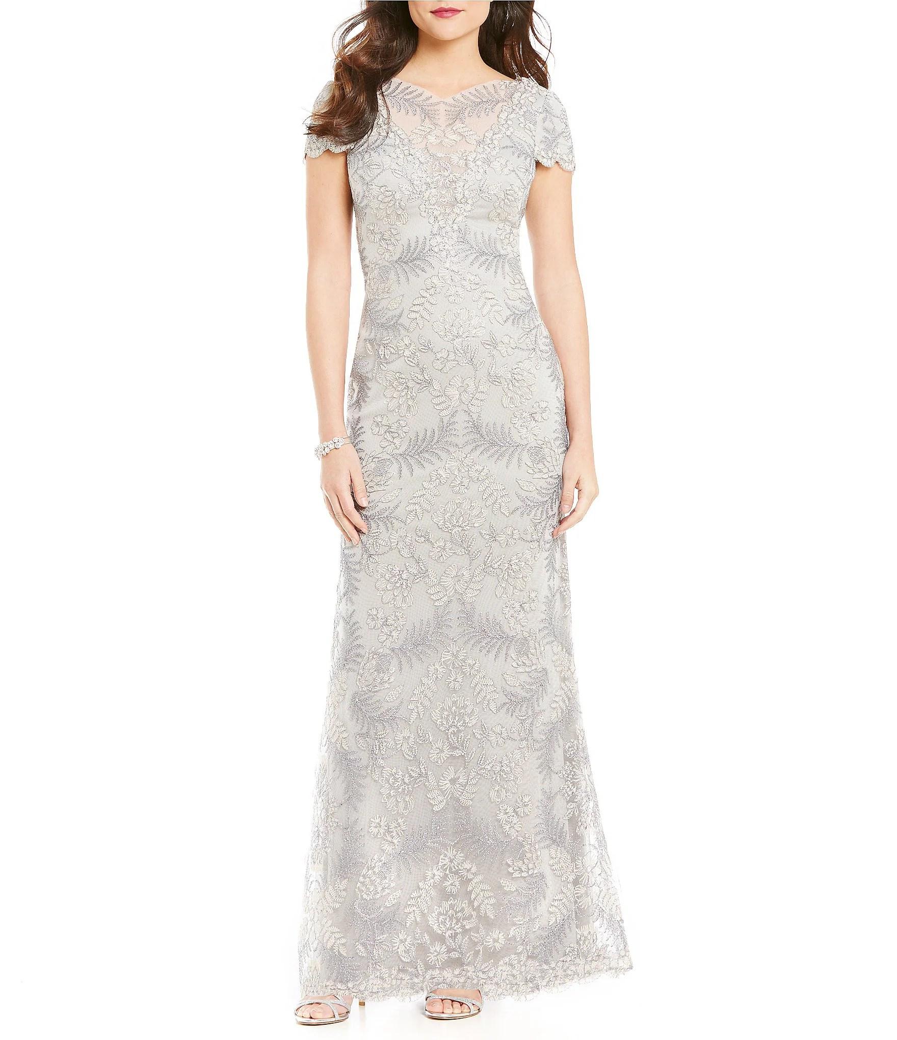 Tadashi Shoji Embroidered Lace Gown Dillards