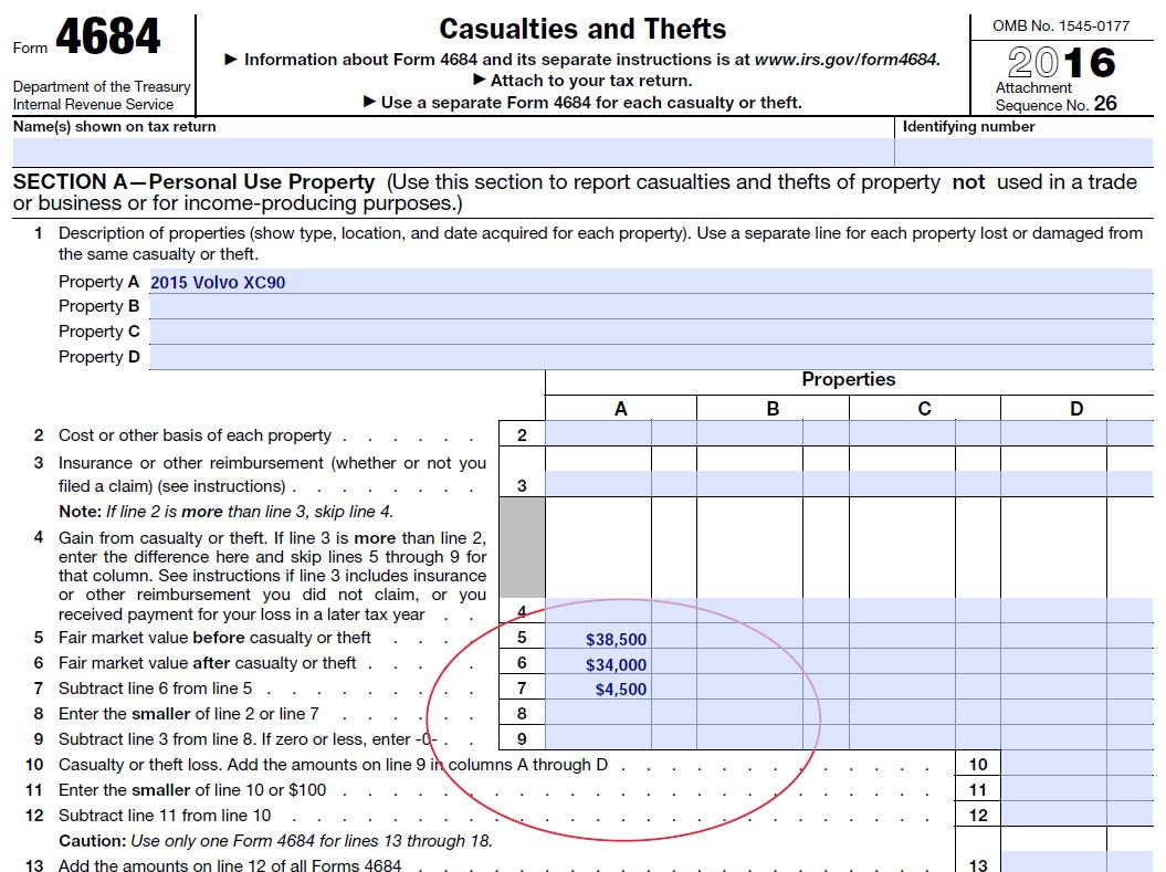 Diminished Value And Taxes Irs Form