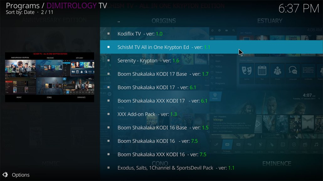 SCHISMTV ALL IN ONE KODI BUILD v1.1