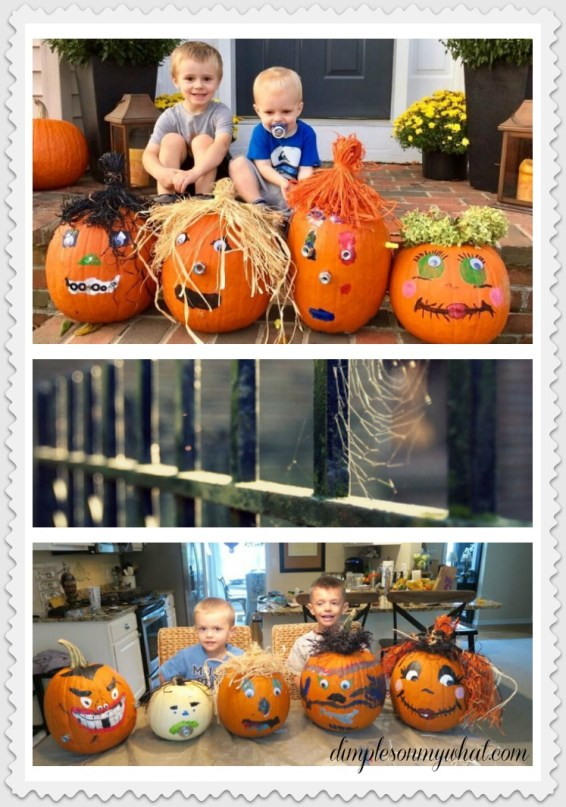 Pumpkin decorating with the grandkids is so much fun. / dimplesonmywhat.com