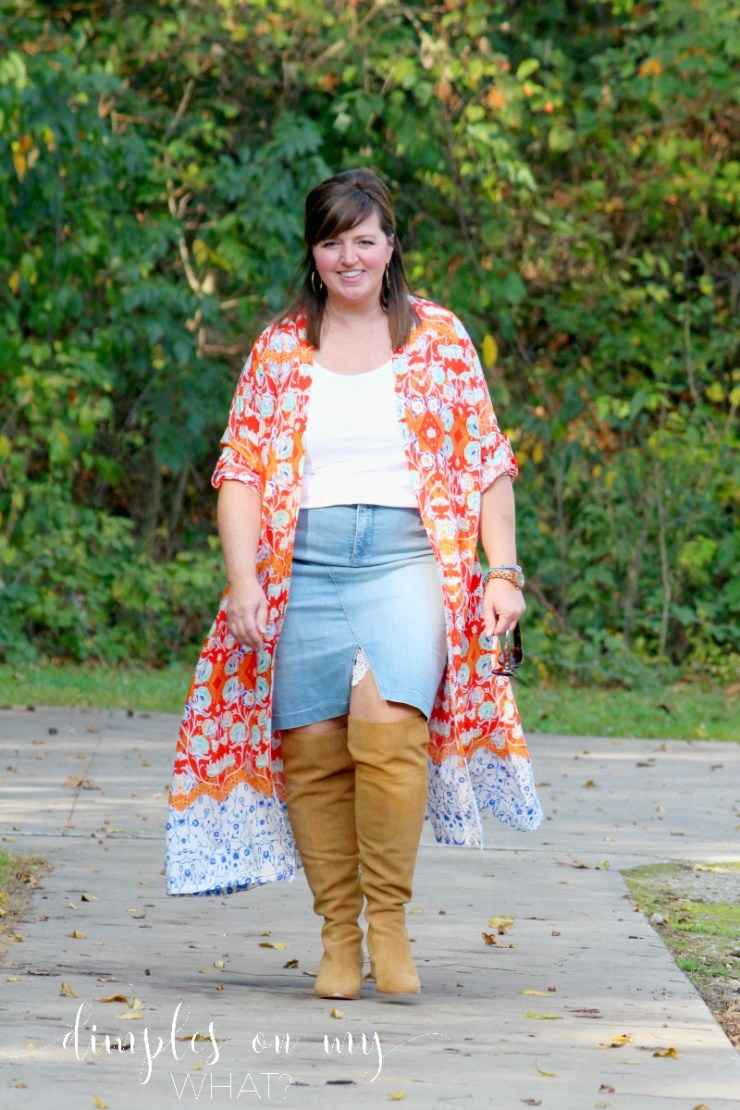 Fashion Over 50 / Plus Sized Kimono / Simply Be Kimono / Over-The Knee Boots