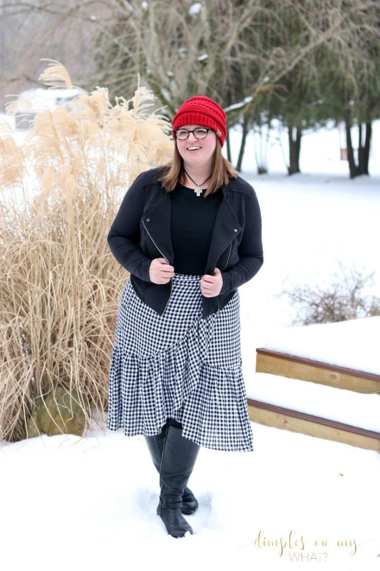 Gingham Wrap Skirt || Fashion for Women Over 50 || Curvy Woman Fashion