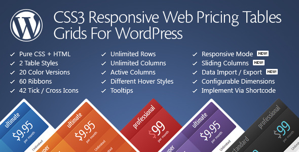 JUAL CSS3 Responsive WordPress Compare Pricing Tables