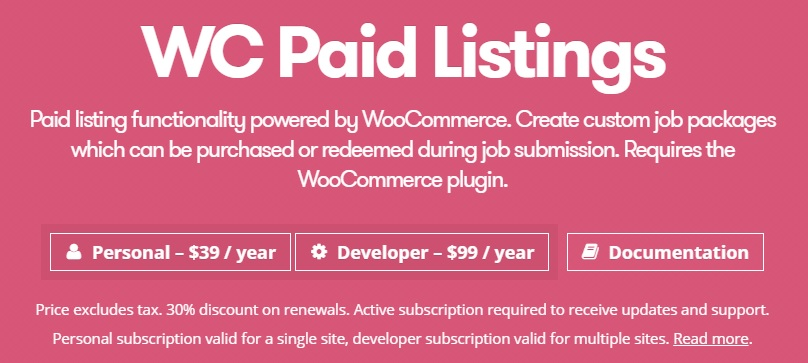 JUAL WP Job Manager WC Paid Listings Add-on